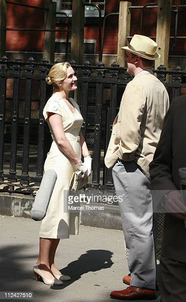 Kate Winslet and David Harbour during Kate Winslet on Set of 'Revolutionary Road' in New York City May 30 2007 at Stuyvesant Park in New York New...