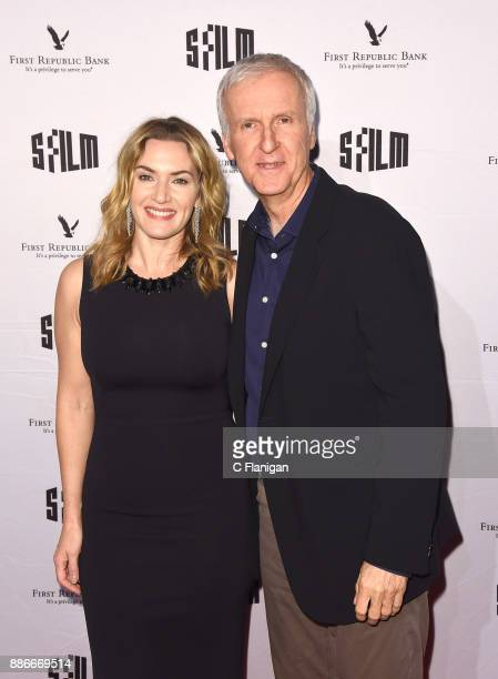 Kate Winslet and Director James Cameron attend SFFILM's 60th Anniversary Awards Night at Palace of Fine Arts Theatre on December 5 2017 in San...