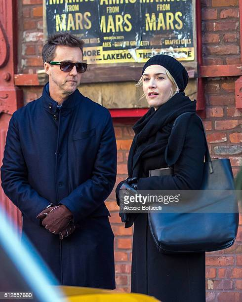 Kate Winslet and Ed Norton are seen filming 'Collateral Beauty' in East Village on February 26 2016 in New York City