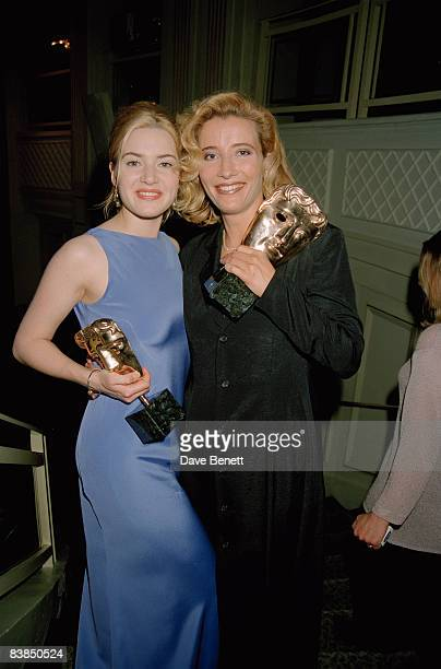 Kate Winslet and Emma Thompson with their awards at the BAFTA afterparty at Grosvenor House in London 21st April 1996 They won the awards for Best...
