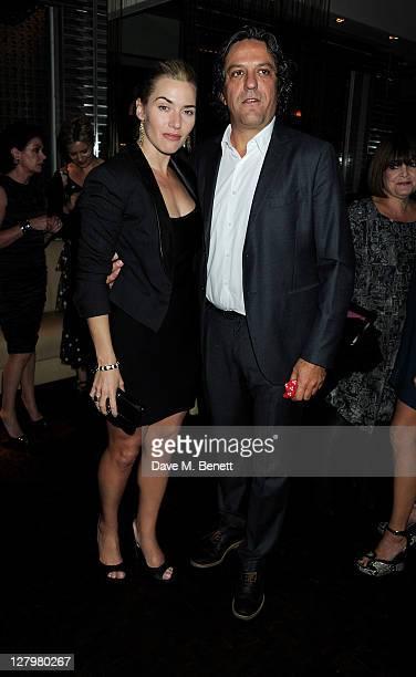 Kate Winslet and Giorgio Locatelli attend a book launch party for Chef Giorgio Locatelli's new book Made In Sicily at Locanda Locatelli on October 4...