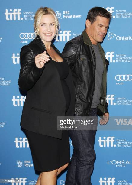 Kate Winslet and Josh Brolin attend the Labor Day press conference during the 2013 Toronto International Film Festival held at TIFF Bell Lightbox on...