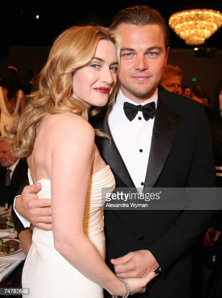 Kate Winslet and Leonardo DiCaprio at the Beverly Hilton in Beverly Hills California