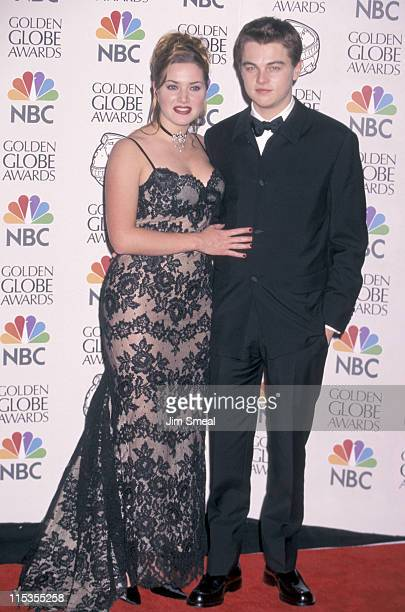 Kate Winslet And Leonardo DiCaprio during 55th Annual Golden Globe Awards at Beverly Hilton Hotel in Beverly Hills California United States