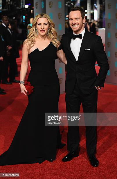 Kate Winslet and Michael Fassbender attend the EE British Academy Film Awards at the Royal Opera House on February 14 2016 in London England