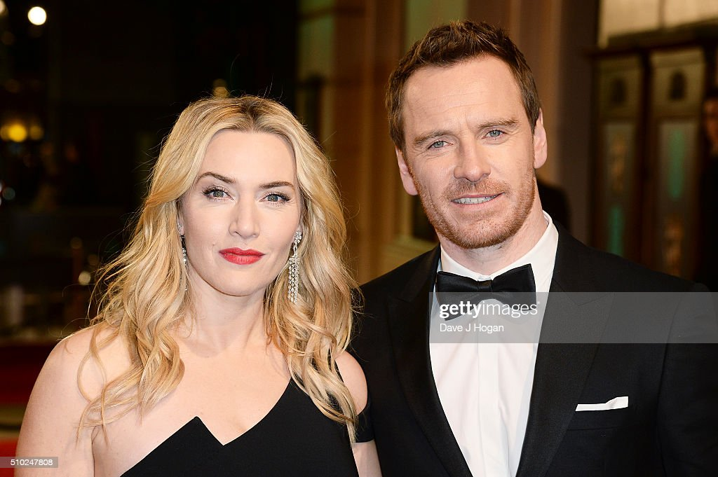 Kate Winslet (L) and Michael Fassbender attend the EE British Academy Film Awards at The Royal Opera House on February 14, 2016 in London, England.