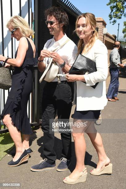 Kate Winslet and Ned Rocknroll arrive at Wimbledon Tennis for Men's Final Day on July 15 2018 in London England