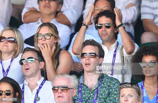 Kate Winslet and Ned Rocknroll during the men's singles final on day thirteen of the Wimbledon Tennis Championships at the All England Lawn Tennis...