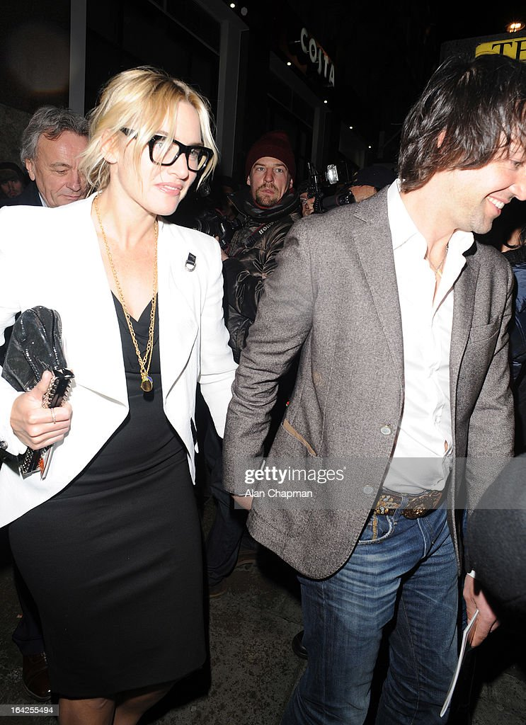 Kate Winslet and Ned Rocknroll sighting at the Prince of Wales Theatre following The Book of Mormon press night on March 21, 2013 in London, England.