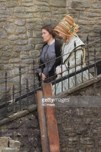 Kate Winslet and Saoirse Ronan on the set of new period drama 'Ammonite' on March 13 2019 in Lyme Regis England