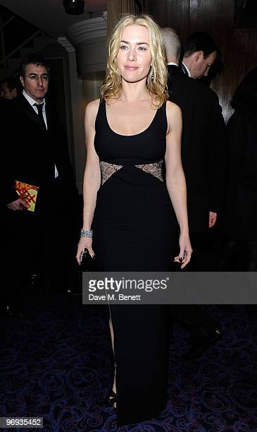 Kate Winslet arrives for the dinner following the Orange British Academy Film Awards 2010 at The Grosvenor House Hotel on February 21 2010 in London...