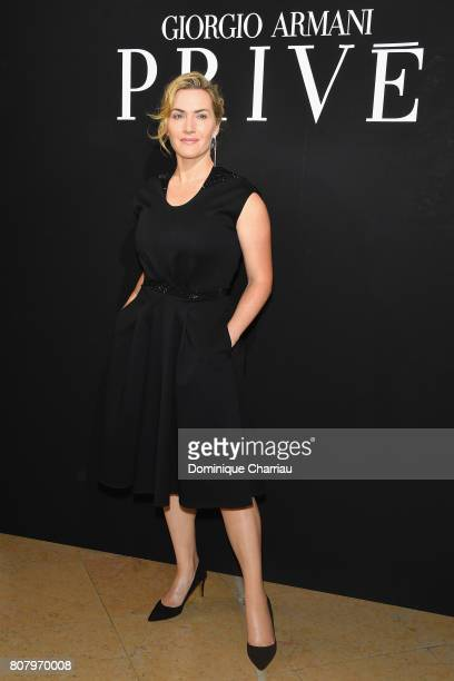 Kate Winslet attends the Giorgio Armani Prive Haute Couture Fall/Winter 20172018 show as part of Haute Couture Paris Fashion Week on July 4 2017 in...
