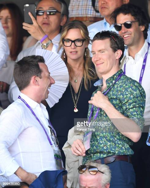 Kate Winslet attends the men's singles final on day thirteen of the Wimbledon Tennis Championships at the All England Lawn Tennis and Croquet Club on...