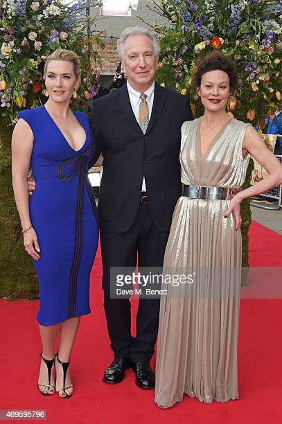 """Kate Winslet, director Alan Rickman and Helen McCrory attend the UK premiere of """"A Little Chaos"""" at ODEON Kensington on April 13, 2015 in London,..."""