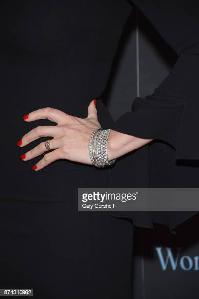 Kate Winslet jewelry detail attends the 'Wonder Wheel' New York screening at the Museum of Modern Art on November 14 2017 in New York City