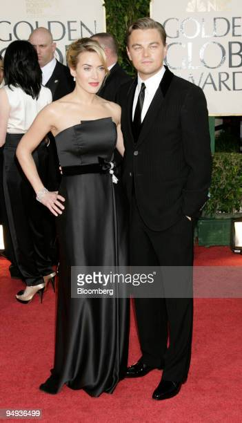 Kate Winslet left and Leonardo DiCaprio arrive for the 66th Annual Golden Globe Awards in Beverly Hills California US on Sunday Jan 11 2009 Heath...