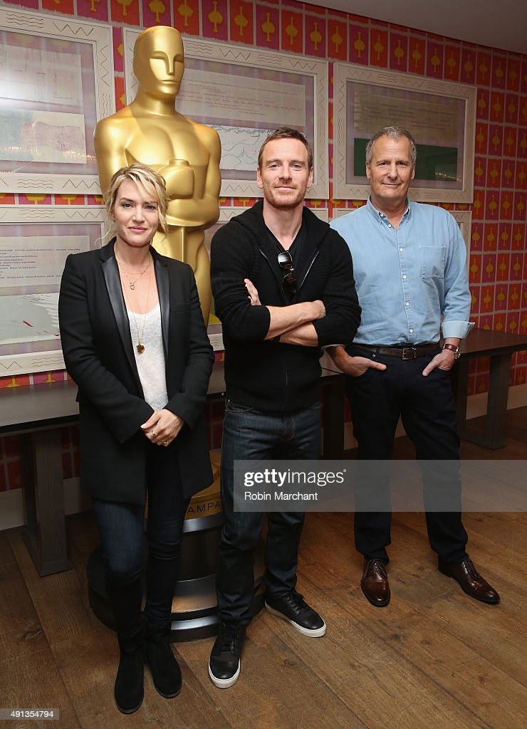 Kate Winslet, Michael Fassbender and Jeff Daniels attend the Academy of Motion Picture Arts and Sciences hosts an official Academy screening of 'Steve Jobs' at Crosby Hotel on October 4, 2015 in New York City.