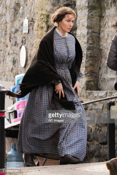 Kate Winslet on the set of new period drama 'Ammonite' on March 13 2019 in Lyme Regis England