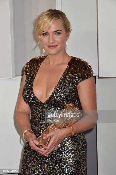 Kate Winslet poses after receiving an honorary Cesar Award during the 37th Cesar Film Awards at Theatre du Chatelet on February 24 2012 in Paris...