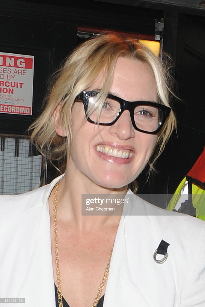 Kate Winslet sighting leaving the Prince of Wales Theatre following The Book of Mormon press night on March 21, 2013 in London, England.