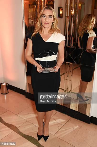 Kate Winslet, winner of British Icon, attends the Harper's Bazaar Women of the Year Awards 2015 at Claridges Hotel on November 3, 2015 in London,...