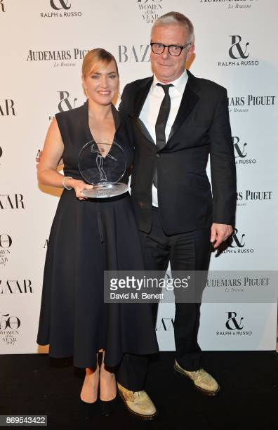Kate Winslet, winner of the British Actress of the Year award, and Stephen Daldry attend Harper's Bazaar Women of the Year Awards in association with...