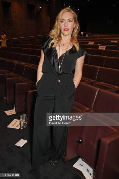 Kate Winslet winner of The Dilys Powell Award for Excellence in Film poses at the London Film Critics' Circle Awards 2018 at The May Fair Hotel on...