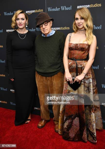 Kate Winslet Woody Allen and Juno Temple attend the 'Wonder Wheel' screening at Museum of Modern Art on November 14 2017 in New York City