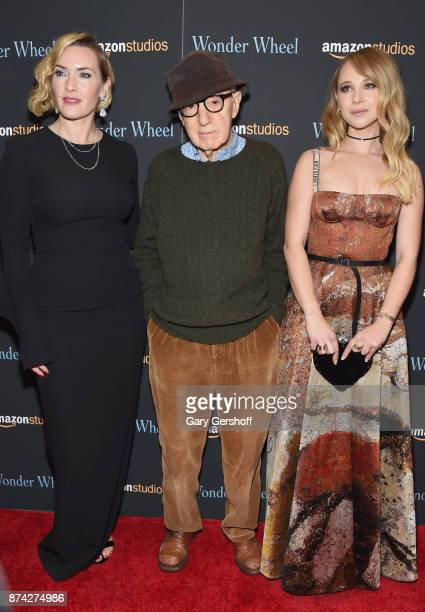 Kate Winslet Woody Allen and Juno Temple attend the 'Wonder Wheel' New York screening at the Museum of Modern Art on November 14 2017 in New York City
