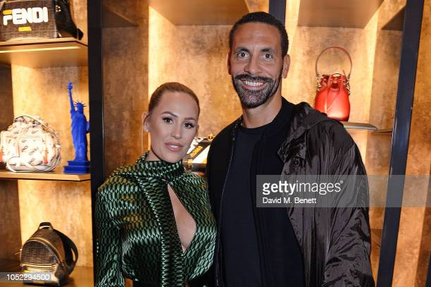 Kate Wright and Rio Ferdinand attend the FENDI MANIA Collection Launch on October 16 2018 in London England