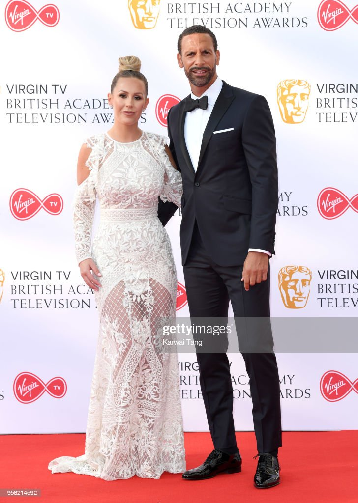 Kate Wright and Rio Ferdinand attend the Virgin TV British Academy Television Awards at The Royal Festival Hall on May 13, 2018 in London, England.