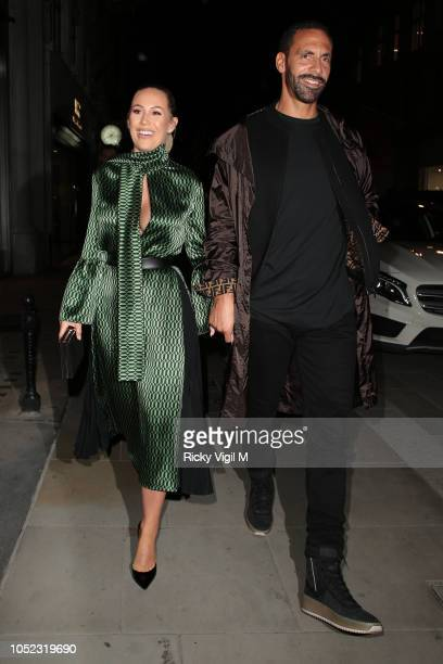 Kate Wright and Rio Ferdinand seen attending The Fendi Mania Drop London on October 16 2018 in London England