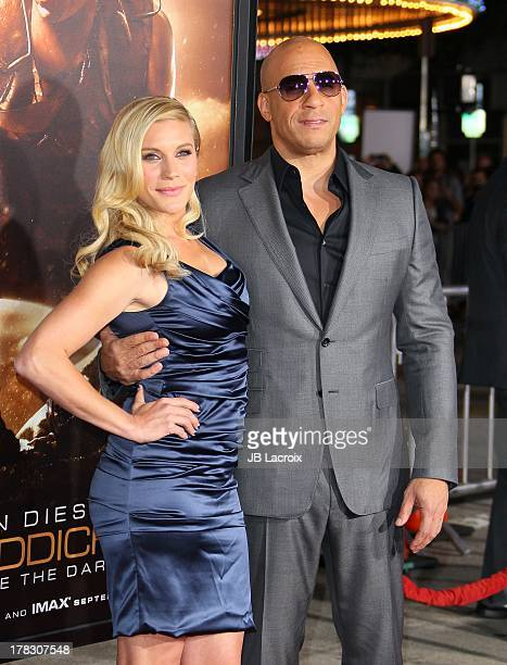 Katee Sackhoff and Vin Diesel attends the 'Riddick' premiere on August 28 2013 in Westwood California
