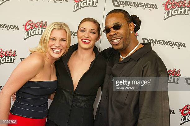 Katee Sackhoff Bianca Kajlich and Busta Rhymes at the premiere of Halloween Resurrection at the Mann Festival in Westwood Ca Monday July 1 2002 Photo...