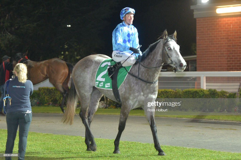Katelyn Mallyon returns to the mounting yard on A Mist Opportunity after winning the Procon Developments F&M BM64 Handicap at Cranbourne Racecourse on October 13, 2017 in Cranbourne, Australia.