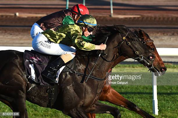 Katelyn Mallyon riding Nevis in Race 7 during Melbourne ANZAC Day Racing at Flemington Racecourse on April 25 2016 in Melbourne Australia