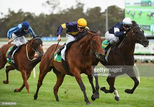 Katelyn Mallyon riding Velox defeats Mark Zahra riding Big Memory in Race7 the Golden Mile during Melbourne racing at Bendigo Racecourse on March 19...