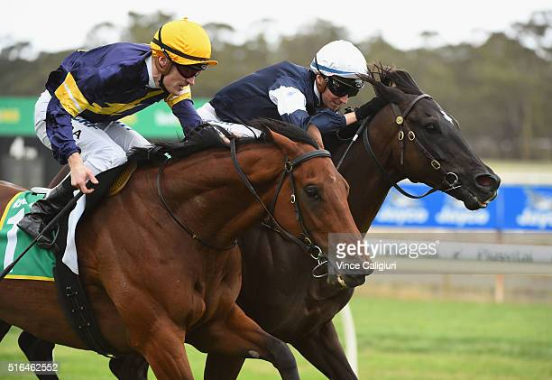 Katelyn Mallyon riding Velox defeats Mark Zahra riding Big Memory in Race7 the Golden Mile during Melbourne racing at Bendigo Racecourse on March 19...