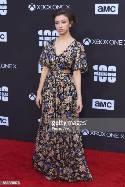 Katelyn Nacon attends AMC Celebrates The 100th Episode Of The Walking Dead Arrivals at The Greek Theatre on October 22 2017 in Los Angeles California