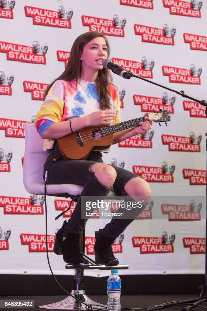 Katelyn Nacon performs on day two of the 'Walker Stalker' convention at London Olympia on March 5 2017 in London United Kingdom