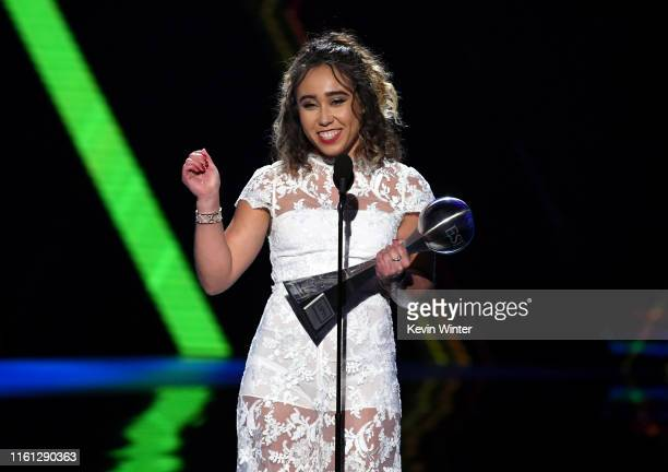 Katelyn Ohashi accepts the Best Play award onstage during The 2019 ESPYs at Microsoft Theater on July 10, 2019 in Los Angeles, California.