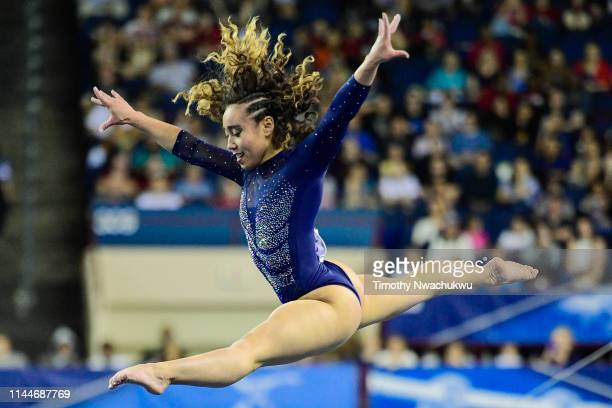 Katelyn Ohashi of the UCLA Bruins performs a floor routine during the Division I Women's Gymnastics Championship held at the Fort Worth Convention...