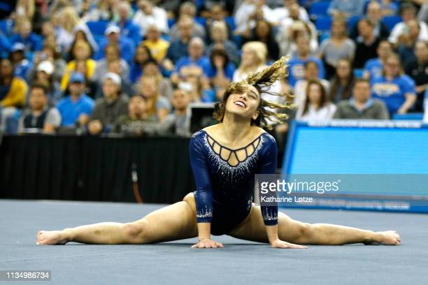 Katelyn Ohashi of UCLA competes in the floor exercise during a meet against Stanford at Pauley Pavilion on March 10, 2019 in Los Angeles, California.