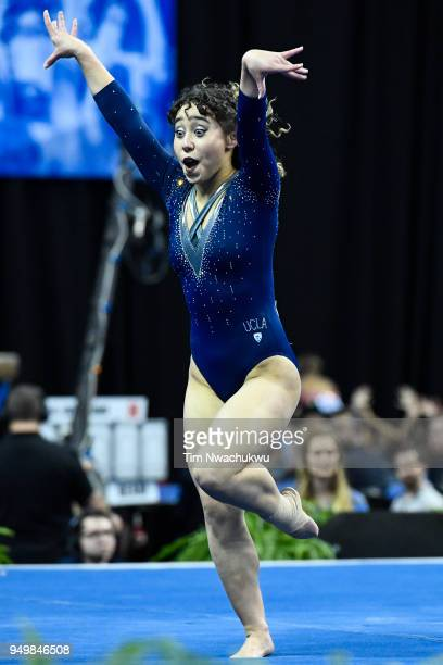 Katelyn Ohashi of UCLA performs a floor routine during the Division I Women's Gymnastics Championship held at Chaifetz Arena on April 21 2018 in St...