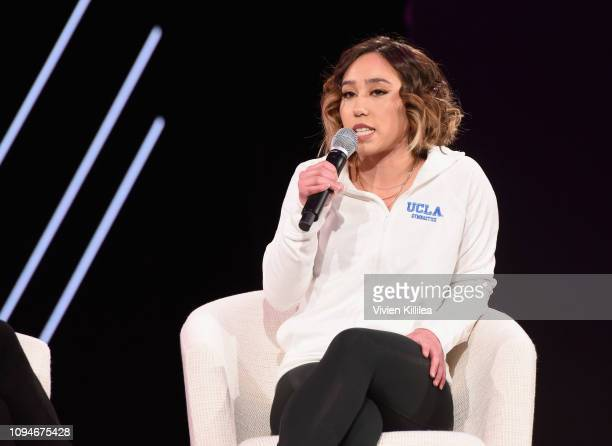Katelyn Ohashi speaks onstage during The 2019 MAKERS Conference at Monarch Beach Resort on February 6, 2019 in Dana Point, California.