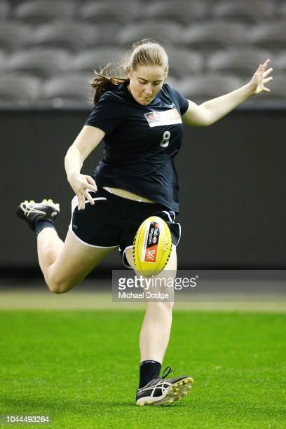 Katelyn Rosenzweig kicks the ball during the AFLW Draft Combine at Etihad Stadium on October 2 2018 in Melbourne Australia