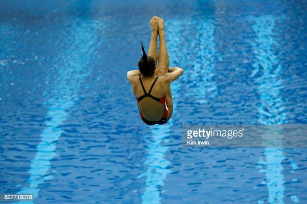 Katelynn Shaheen of Rose Bowl Aquatics dives during the Senior Women's 1m Semi Final during the 2017 USA Diving Summer National Championships on...