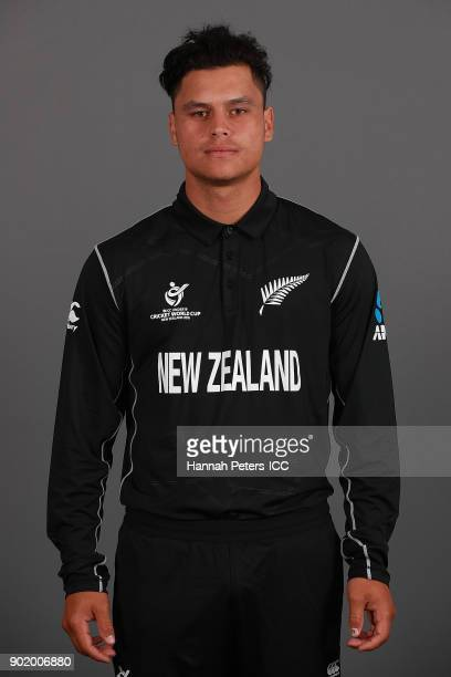 Katene Clarke poses during the New Zealand ICC U19 Cricket World Cup Headshots Session at Rydges Christchurch on January 7 2018 in Christchurch New...