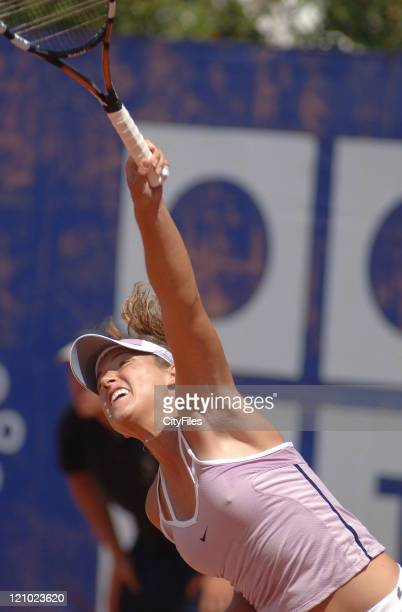 Katerina Bohmova in action against Na Li during their second round match in the 2006 Estoril Open in Estoril Portugal on May 4 2006