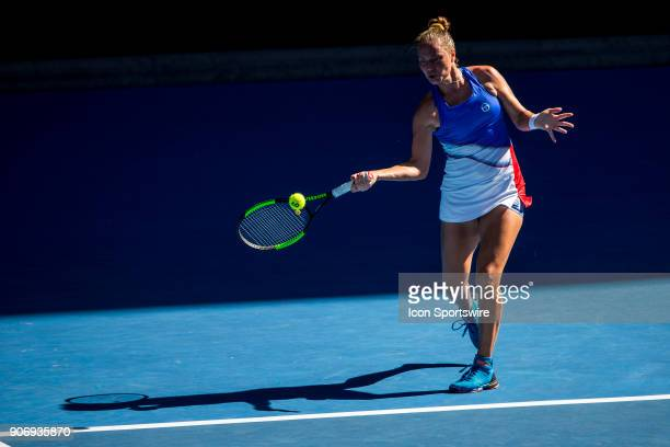 Katerina Bondarenko of the Ukraine plays a shot in her third round match during the 2018 Australian Open on January 19 at Melbourne Park Tennis...